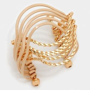 Two tone twisted metal cage cuff bracelet